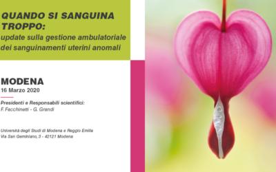 """Corso di alta formazione scientifica """"Quando si sanguina troppo: update sulla gestione ambulatoriale dei sanguinamenti uterini anomali"""""""
